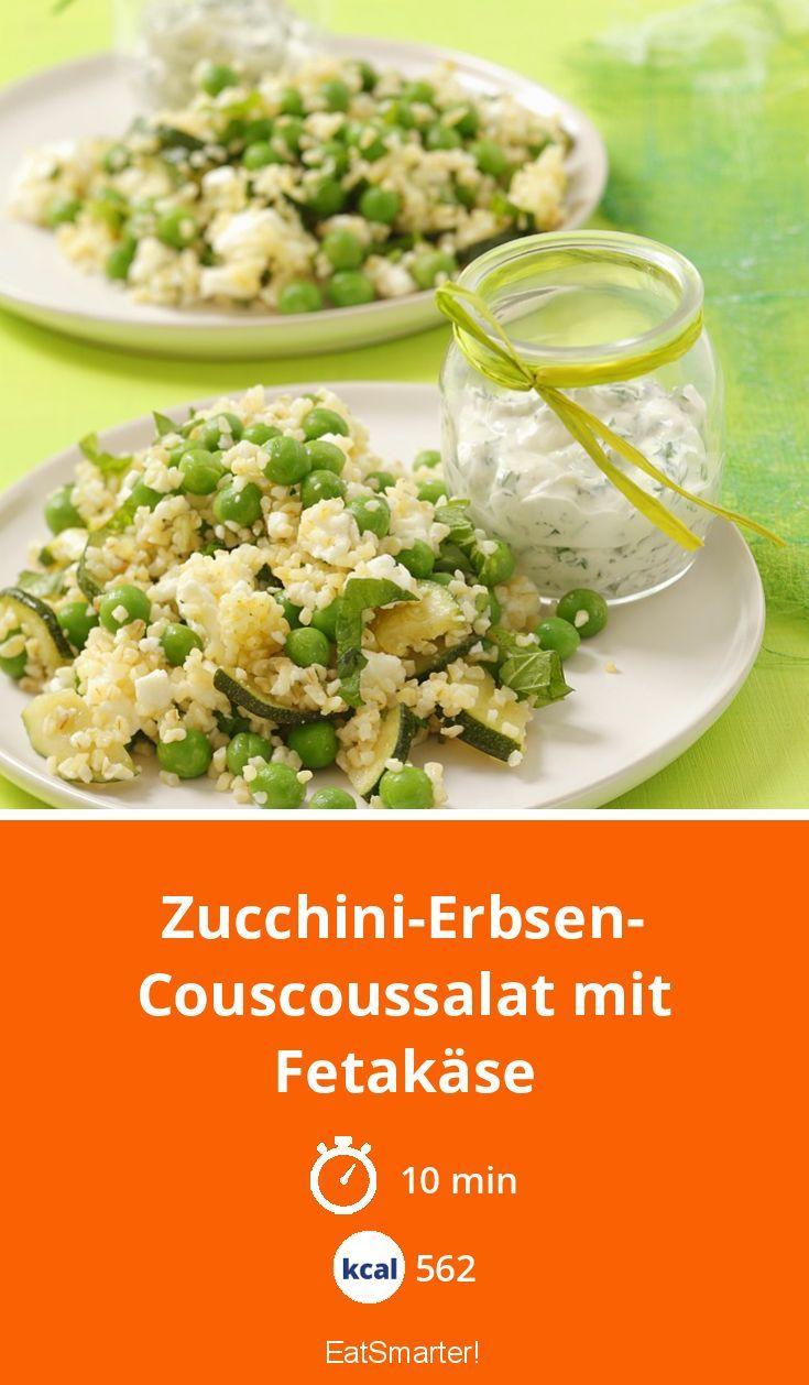 Zucchini-Erbsen-Couscoussalat mit Fetakäse - smarter - Kalorien: 562 kcal - Zeit: 10 Min. | eatsmarter.de