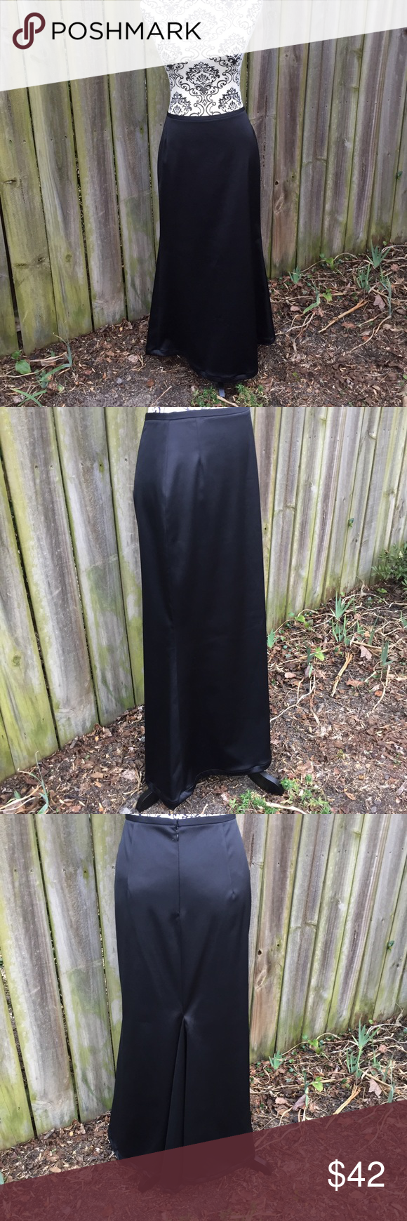 "Long Formal black skirt JS Collection sz 8 Black long formal skirt by JM Collection. ECU. Measurements laying flat are: 14"" waist, 37"" long. Hidden back zipper. 97% polyester and 3% spandex. 🦄Suggested User🦄 🦋I love to bundle🦋 JS Collections Skirts"