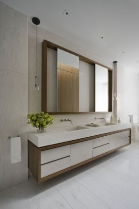 Love This Look For The Master   Wood And White Vanity With Storage, Thick  Counter