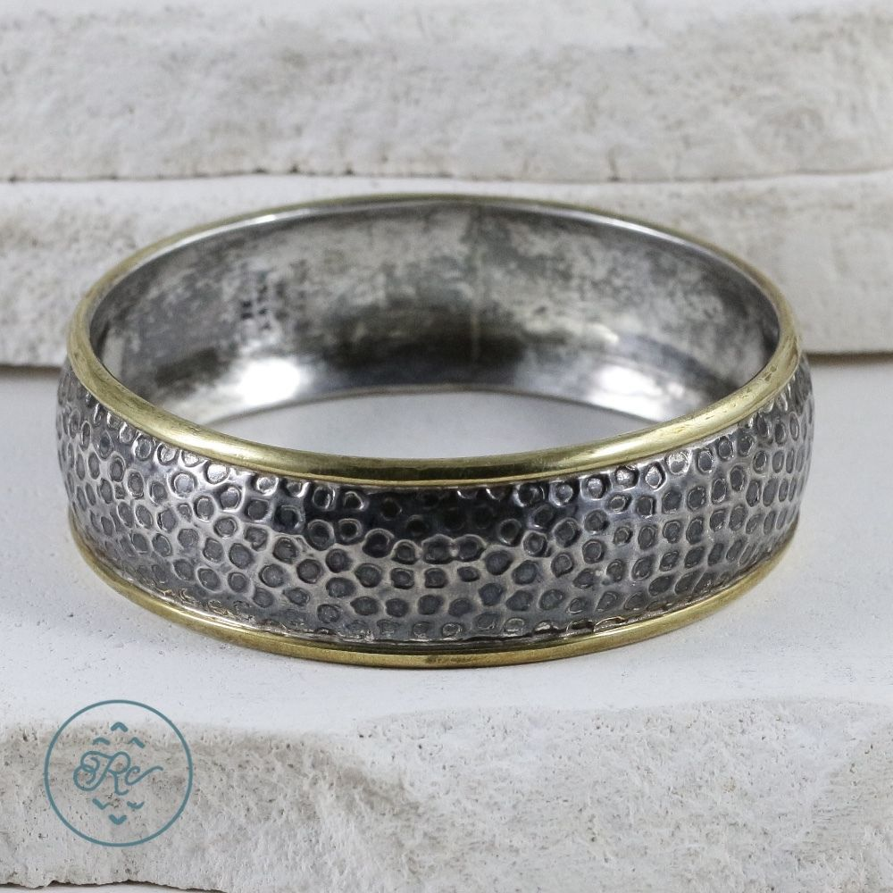 Sterling silver taxco laton brass hammered bangle g bracelet