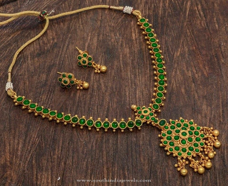 e Gram Gold Plated Green Stone Necklace