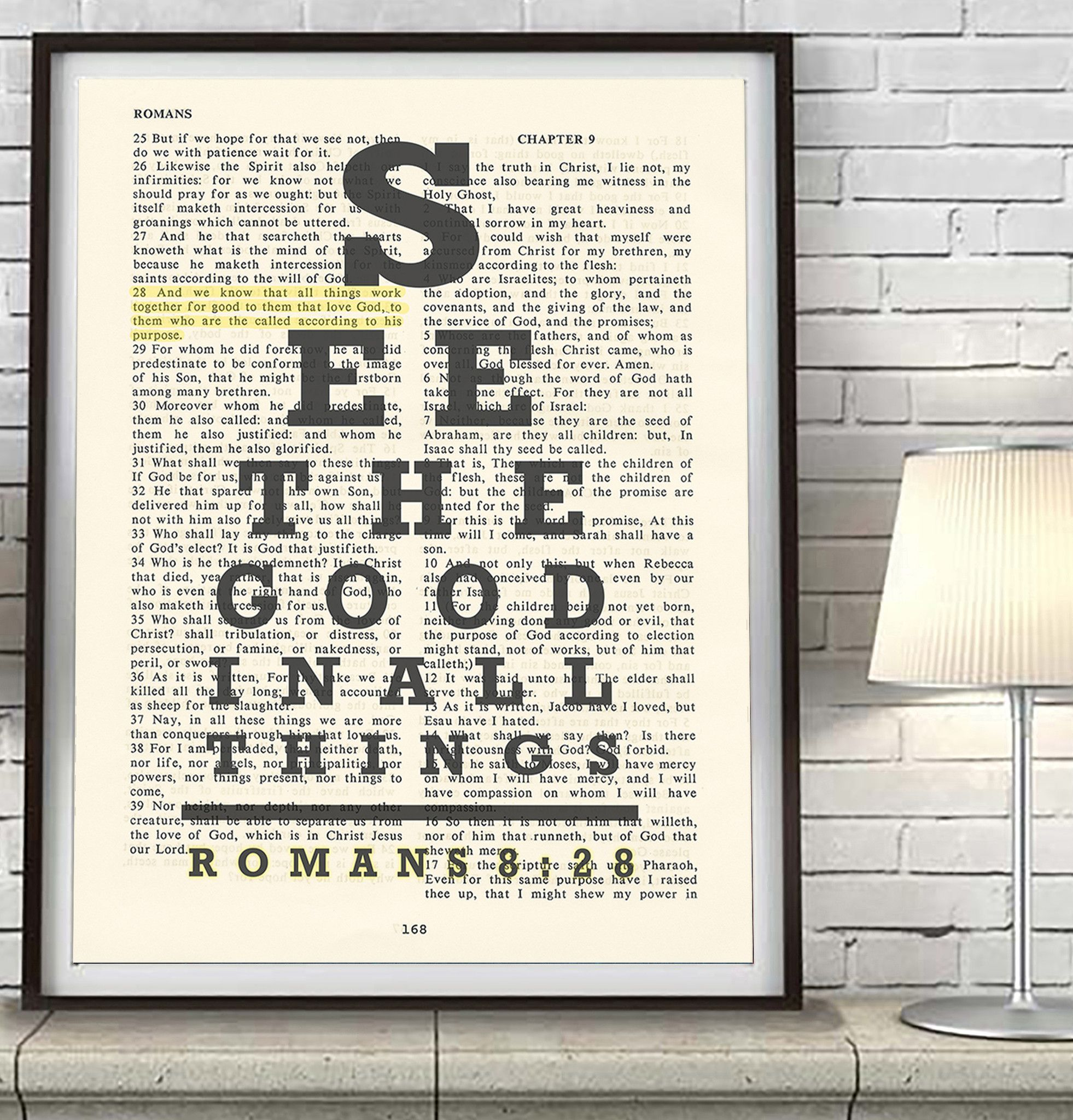 See the good- Romans 8:28 Bible Page Christian ART PRINT | Romano ...