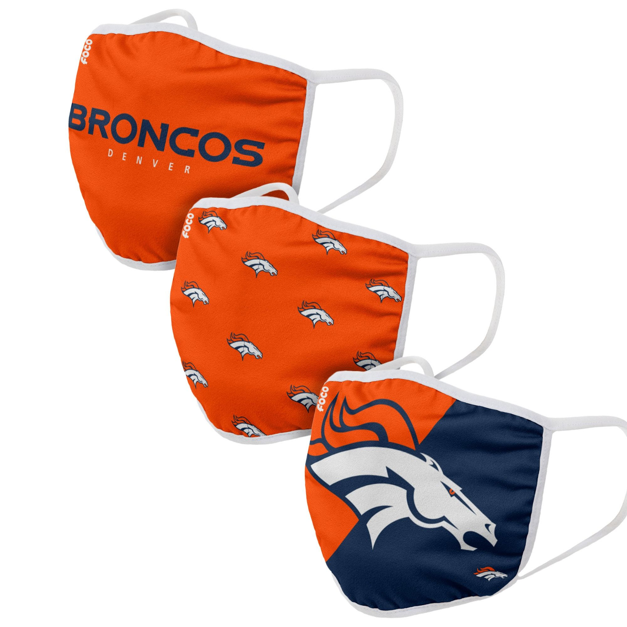 Cover Up While You Represent Your Favorite Team In This Denver Broncos Face Covering 3 Pack From Foco The Nfl And Foco Will In 2020 Face Cover Denver Broncos Broncos