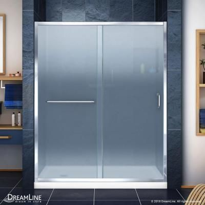 DreamLine Infinity-Z 30 in. x 60 in. Semi-Frameless Sliding Shower Door in Chrome with Center Drain Shower Base in Biscuit #framelessslidingshowerdoors