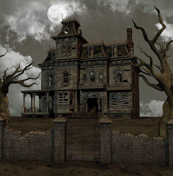 Halloween Backdrop Dark House Scary Scene By