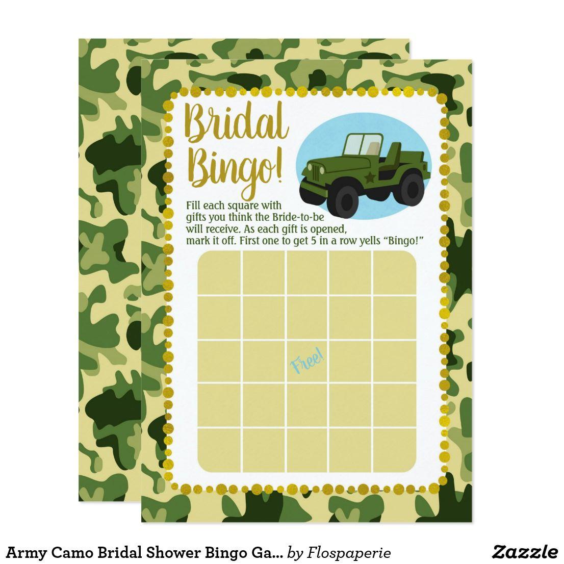 army camo bridal shower bingo game invitation