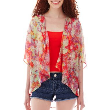 Decree® Lace Inset Dress - Juniors | Chiffon cardigan