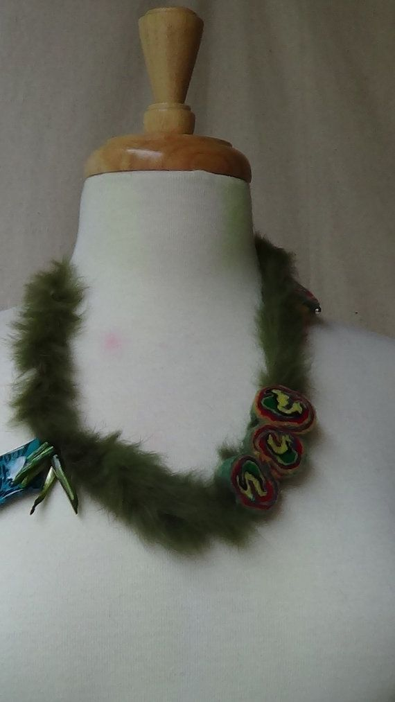 Beautiful felted balls necklace  Hand made Unique by rafaelart, $10.00