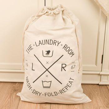 grey drawstring fabric laundry bag with handles