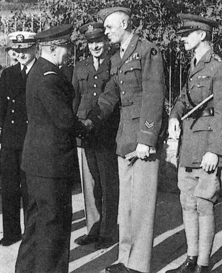 military resume examples infantry%0A Darlan shaking hands with Major General Charles W  Ryder  commander of the  U S    th