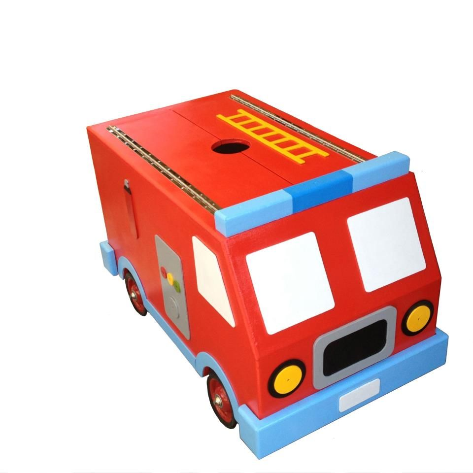 Toys toy boxes and fire trucks on pinterest - Fire Truck Toy Box Childs Kids