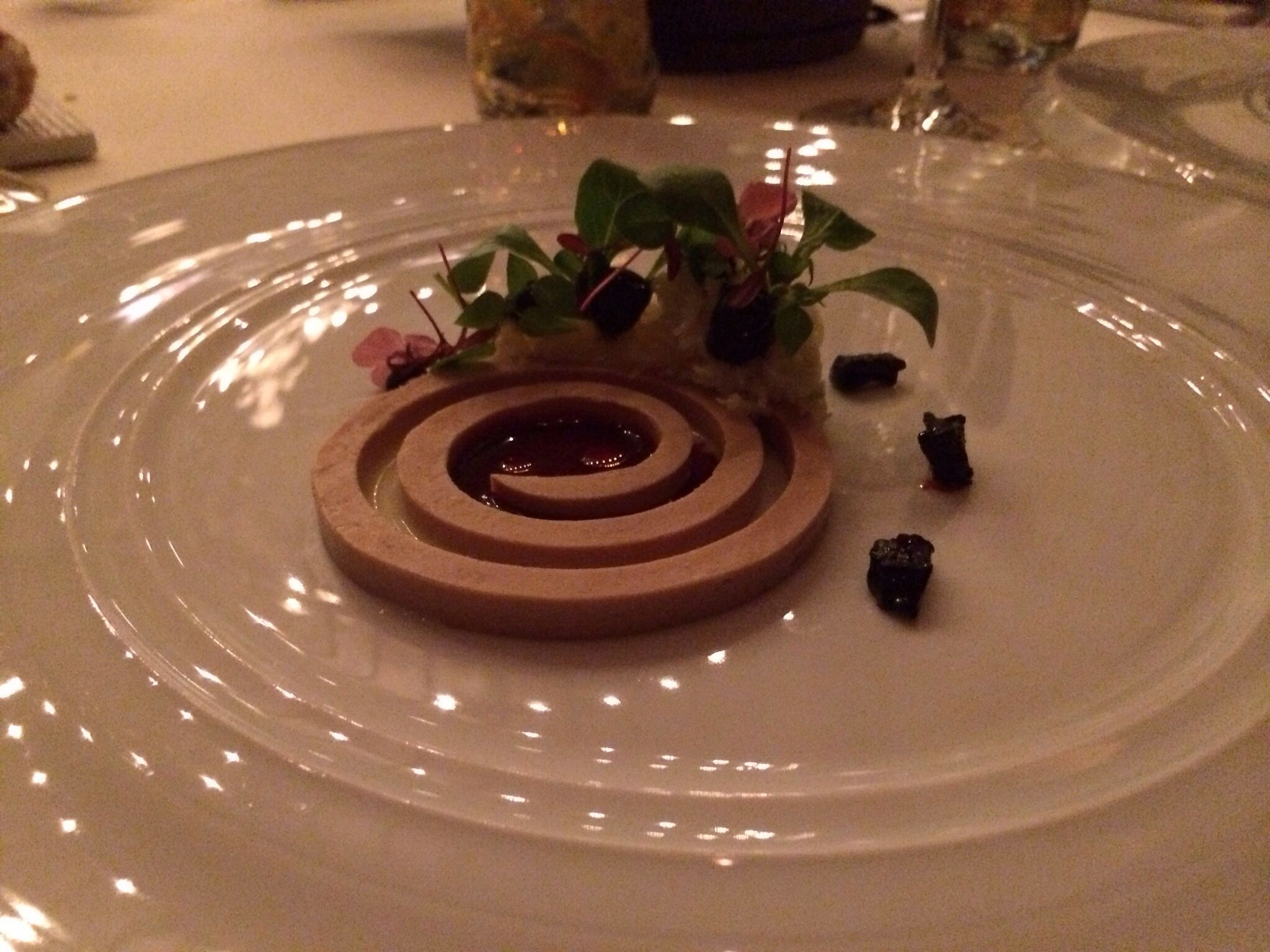 Duck Liver with North Sea crab, black olives and fermented jus from red cabbage @ De Librije in Zwolle, NL (3*)