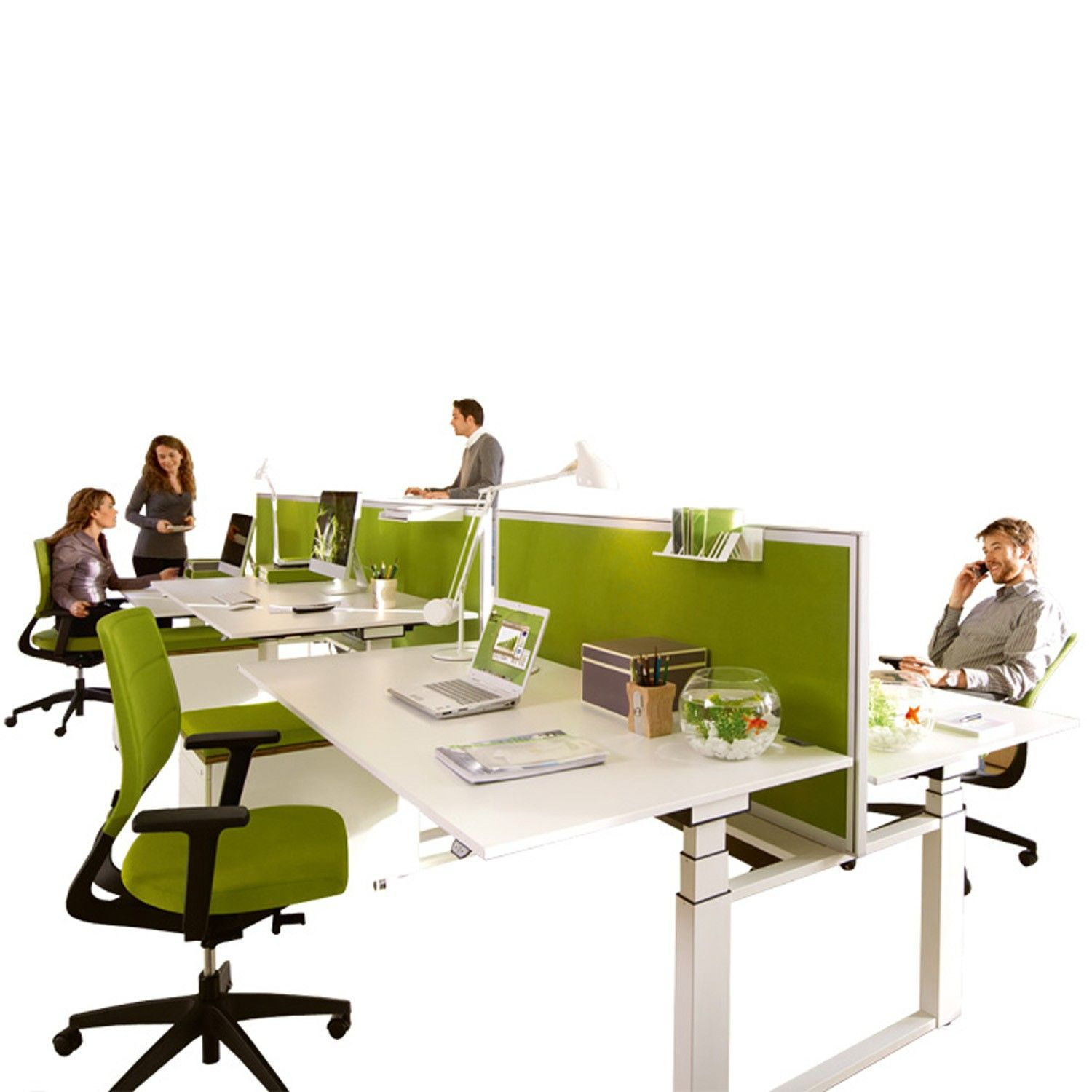 Temptation Twin Height Adjustable Desk programme manufactured by Sedus offers the open plan office workplace the versatility it requires while answering