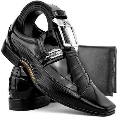 537e702cf0 Kit Sapato Social Masculino Em Couro C  Cinto+carteira - R  129