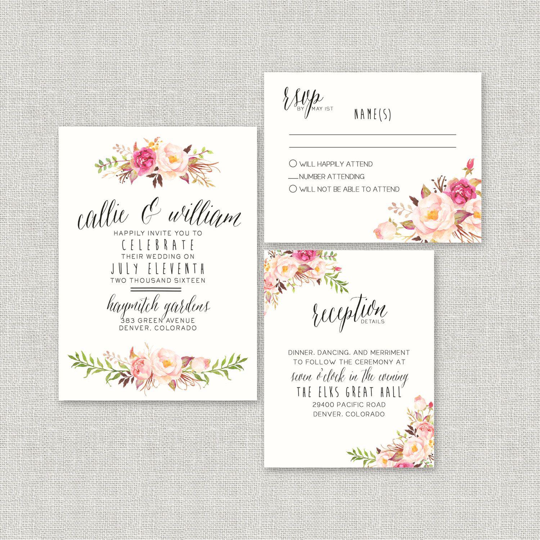 Bohemian wedding invitation suite diy rustic chic calligraphy