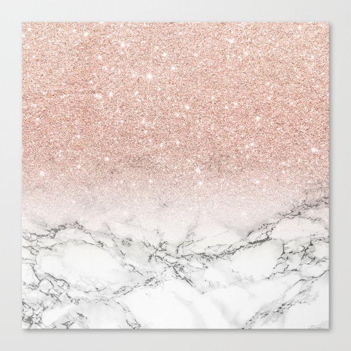 Buy Modern Faux Rose Pink Glitter Ombre White Marble Canvas Print By Girlytrend Worldwide Shipping Available At So S Izobrazheniyami Zolotistye Oboi Belyj Blesk Oboi Dlya Iphone