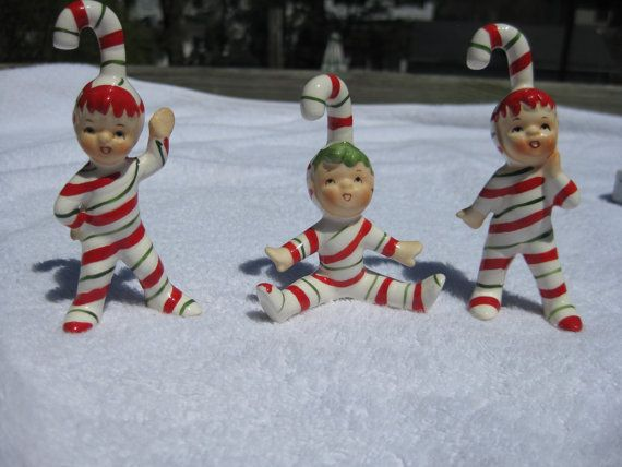 Vintage Lefton Christmas Candy Cane Striped by ValeriesVintages, $150.00