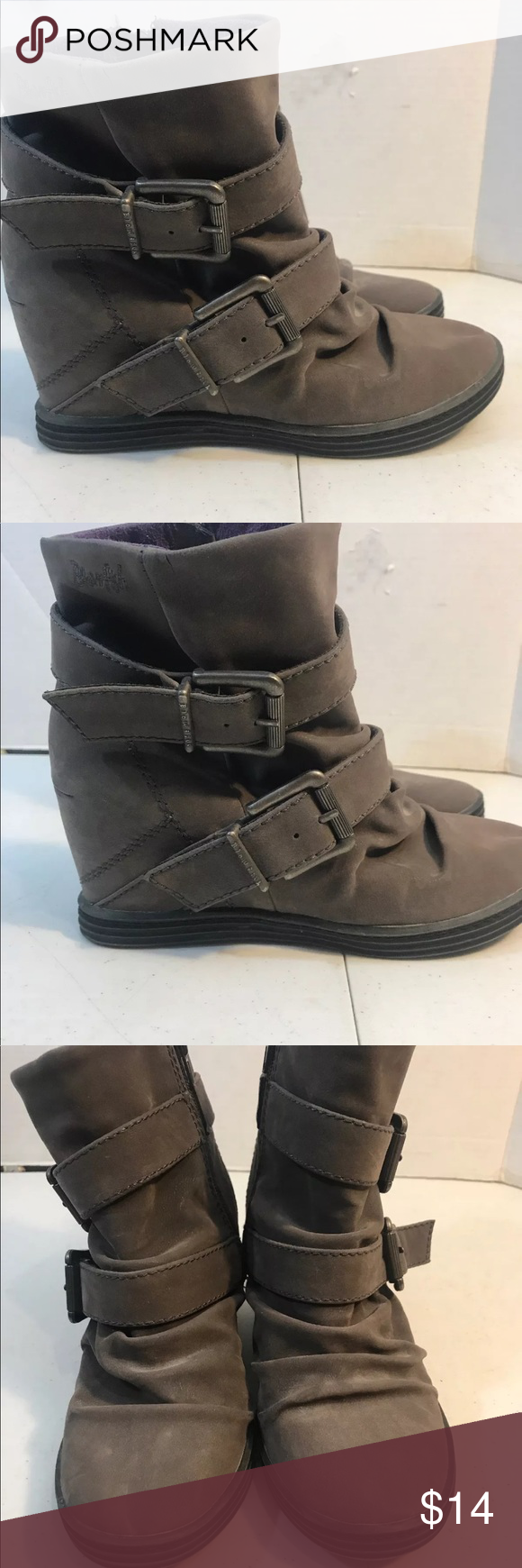 40533e623b3f Blowfish Ankle Wedge Boots Size 7.5 gray Good used condition Blowfish Shoes  Ankle Boots   Booties