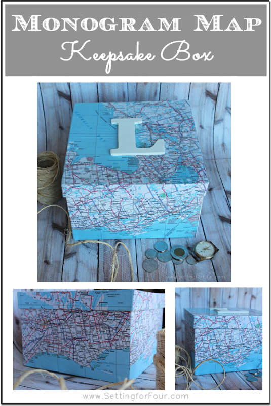DIY Monogram Map Keepsake Box from Setting for Four -- great way to keep photos and momentous from different places you've lived and, of course, vacations. :o)