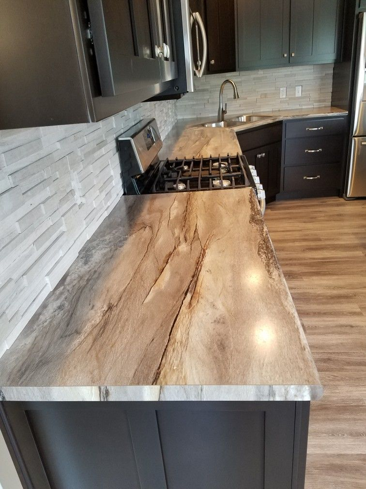 Dolce Vita Formica Countertops; Arctic River Designeru0027s Image™ Honed Thick  Stack Real Stone 3D