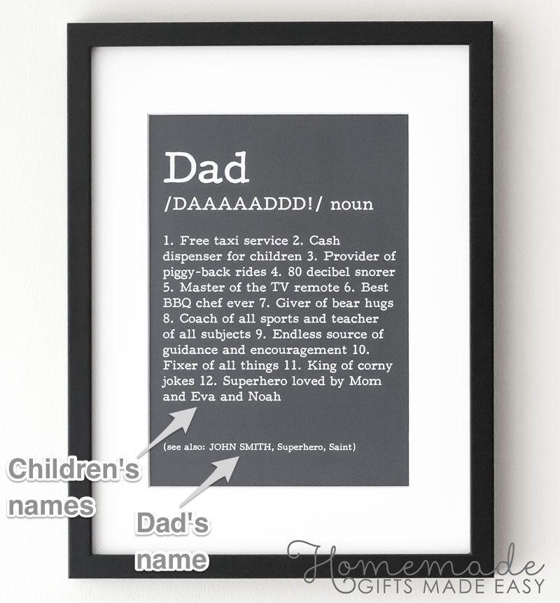 Dad Definition Poster Fathers Day Gift DIY Personalized Homemade Birthday