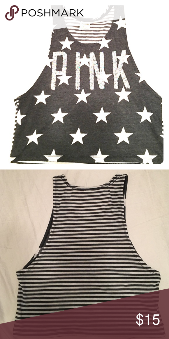 afa3bf0f380 🎀Victorias Secret PINK Crop Top🎀 Grey and white with Stars and Stripes! PINK  Crop top with sequin lettering PINK Victoria's Secret Tops Crop Tops