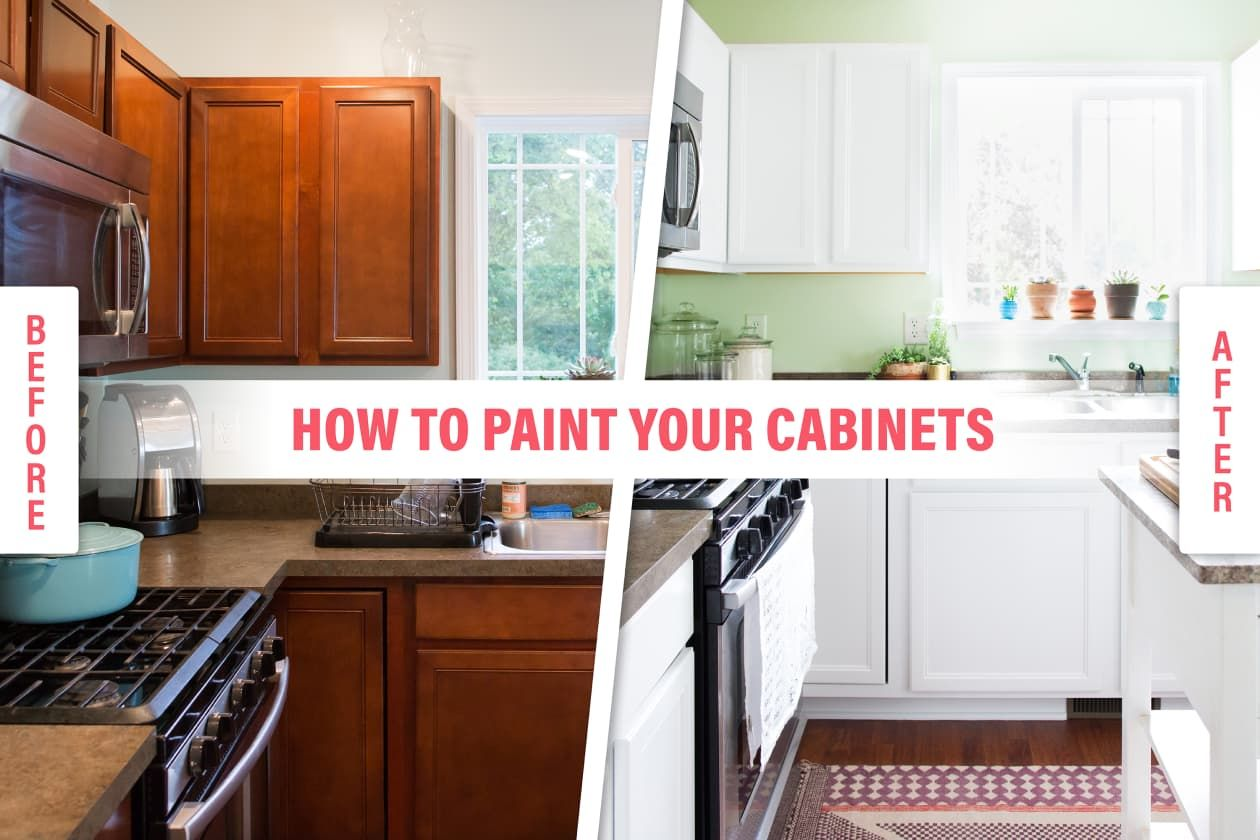 How To Paint Your Kitchen Cabinets So It Looks Like You Totally Replaced Them Wooden Kitchen Cabinets Painting Kitchen Cabinets White Spray Paint Kitchen Cabinets