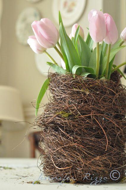 How to cover up a plain jar to make a bird's nest vase DIY