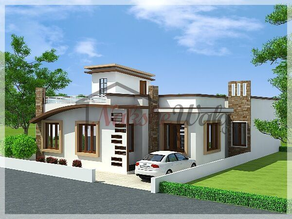 Front elevation single floor house for Single house elevation