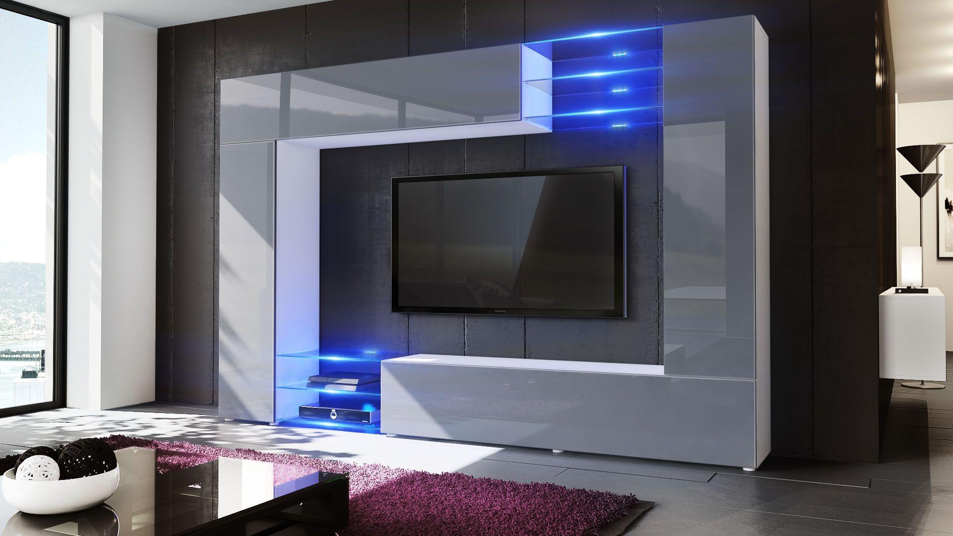 Mirage Wohnwand Einzigartiges Design Mit Hochglanzfronten Und Optionaler Led Beleuchtung Fernbedienung Von Vladon De Wohnwand Wohnen Wohnzimmermobel Modern
