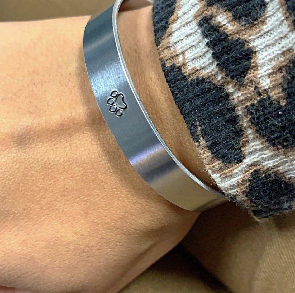 Paw Print Aluminum Cuff Bracelet Benefitting Austin Pets