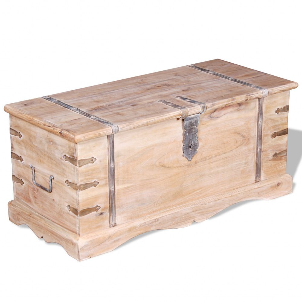 Wooden Storage Trunk Light Brown Chest Acacia Wood Boxes ...