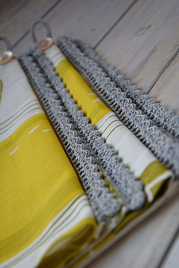 Yellow Kitchen Towels With Grey Linen Lace Tea By Handicraftbyjane