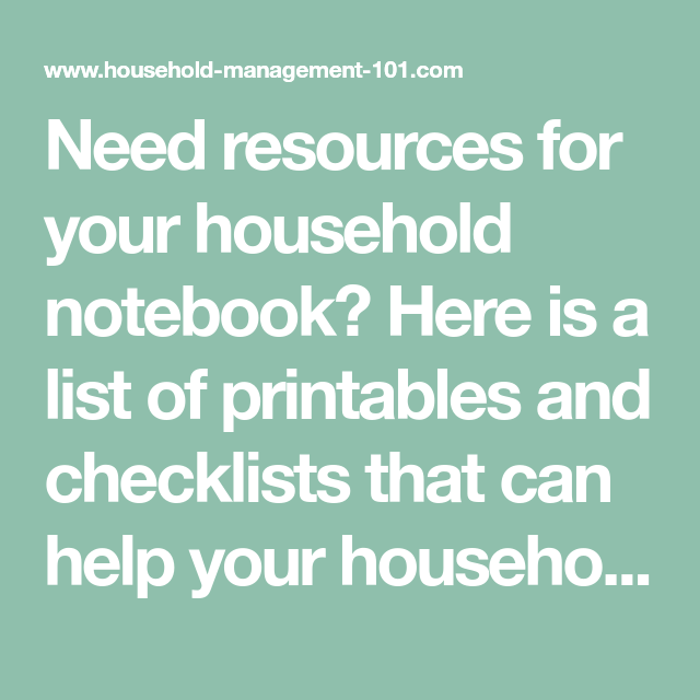 Resources For Your Household Notebook