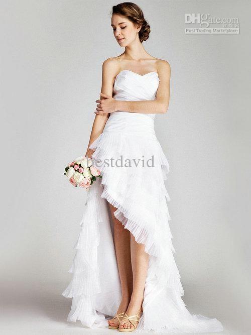 Short Front Long Back Beach Wedding Dresses 2013 Sweetheart Tiered Ruffles Taffeta Gown Court Train