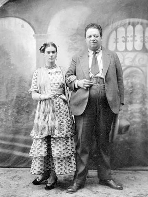 Artists Frida Kahlo and husband painter Diego Rivera official portrait.