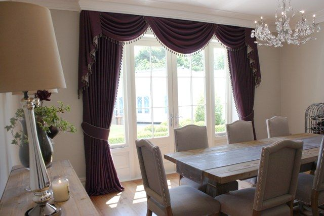 Classic Contemporary Swags And Tails With Curtains We Made For A Dining Room  In A House In Hertfordshire. Curtains Finished With Gorgeous Kravet Trim  And ...