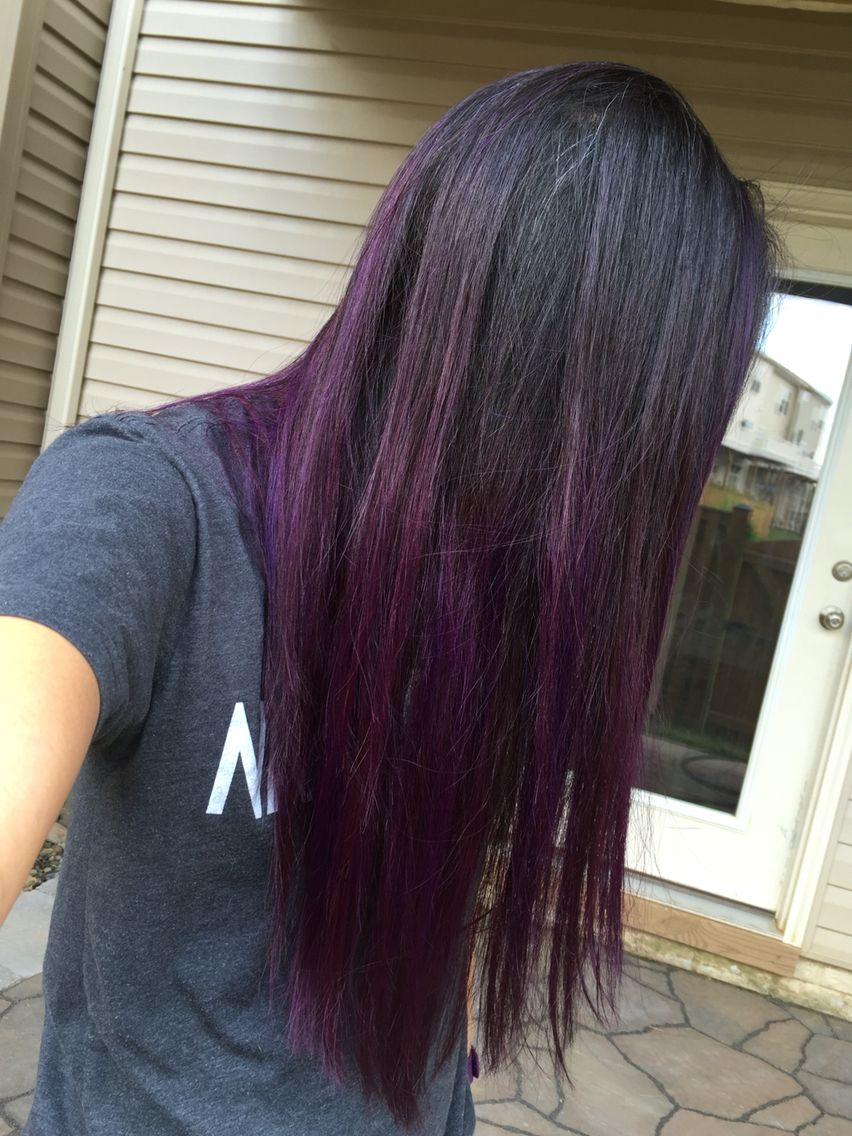 Purple black hair dip dye ombré Asian  New Look  Pinterest