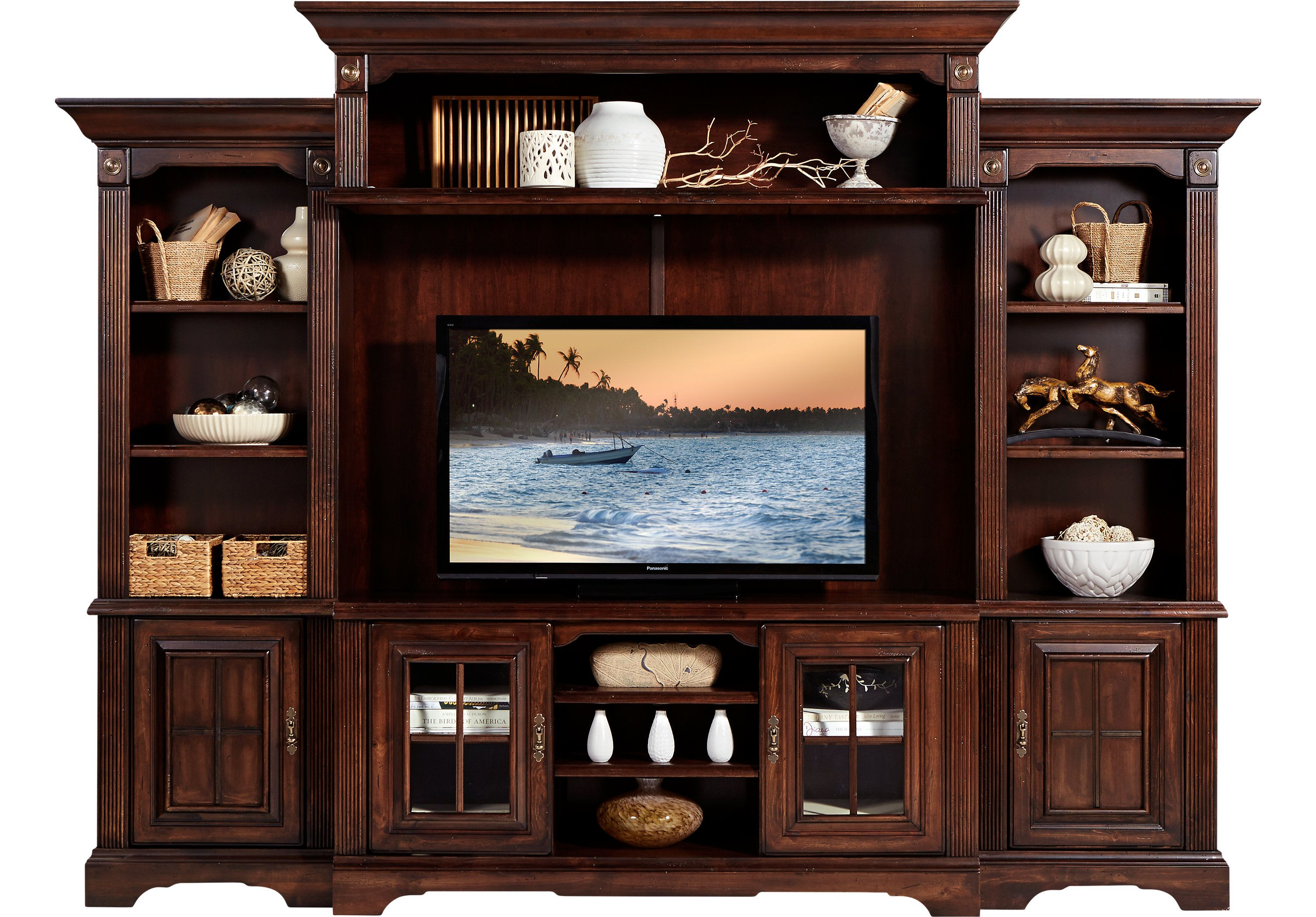Mountain Bluff Dark Cherry 5 Pc Wall Unit Rooms To Go Entertainment Center Wall Unit