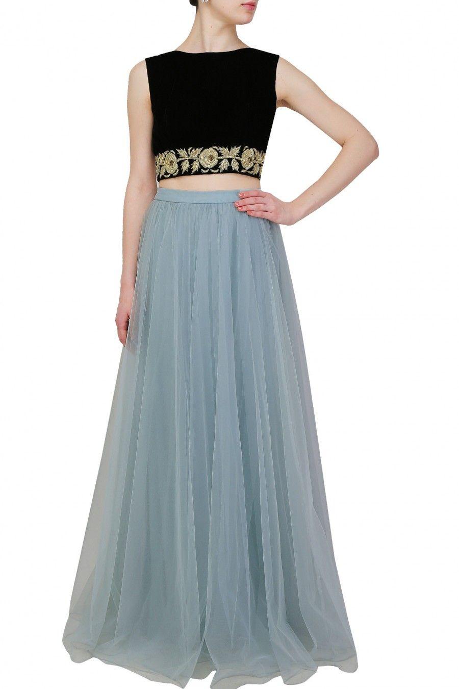 c9fcbe56f Crop Top and Light Blue Skirt | Engagement dress | Light blue skirts ...