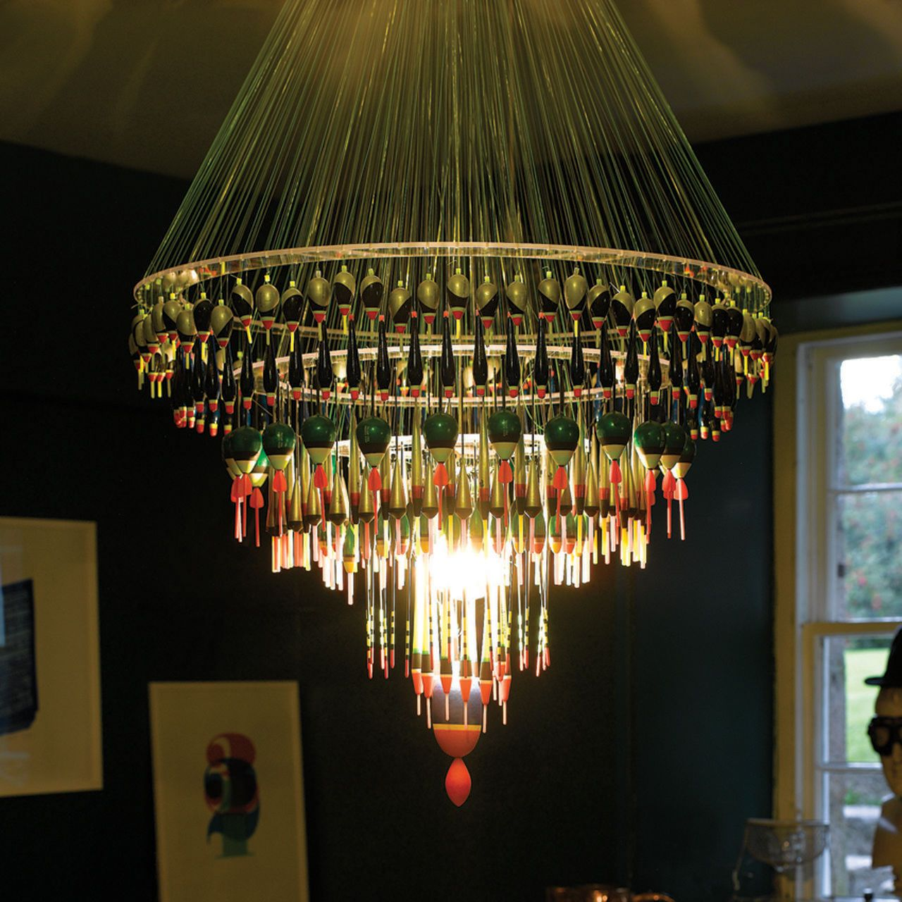 These Creative Man Cave Ideas Will Help You Relax In Style: Enormous Chandelier Made By Hand From Fishing Floats