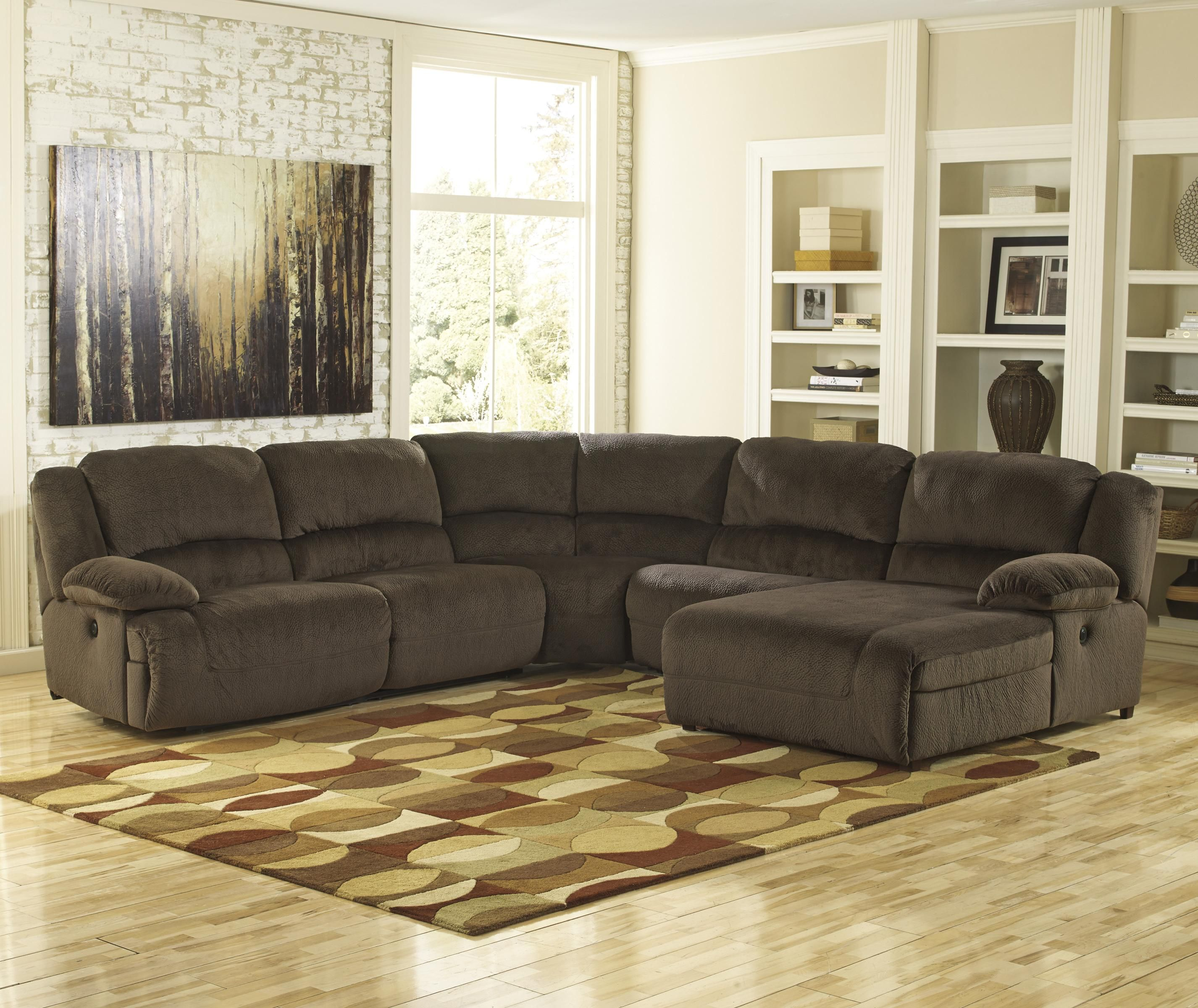 Toletta Chocolate Power Reclining Sectional with Chaise by