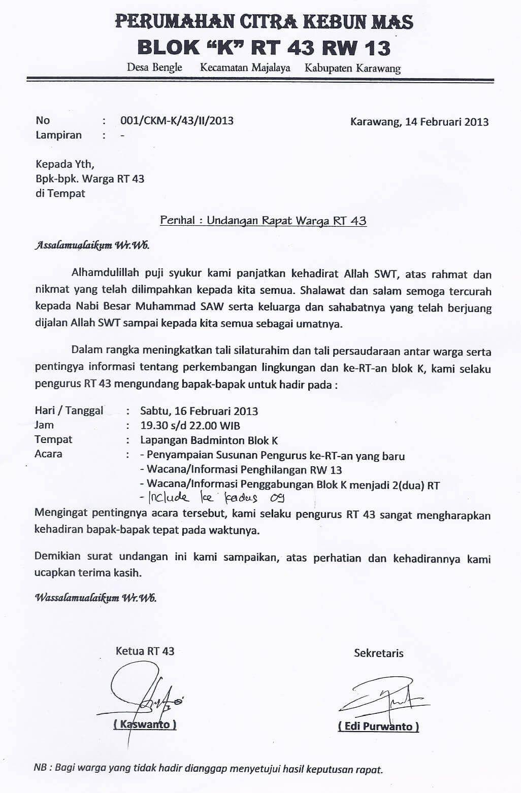 Contoh Surat Undangan Rapat Resmi Organisasi Undangan Kata Kata Motivasi Surat