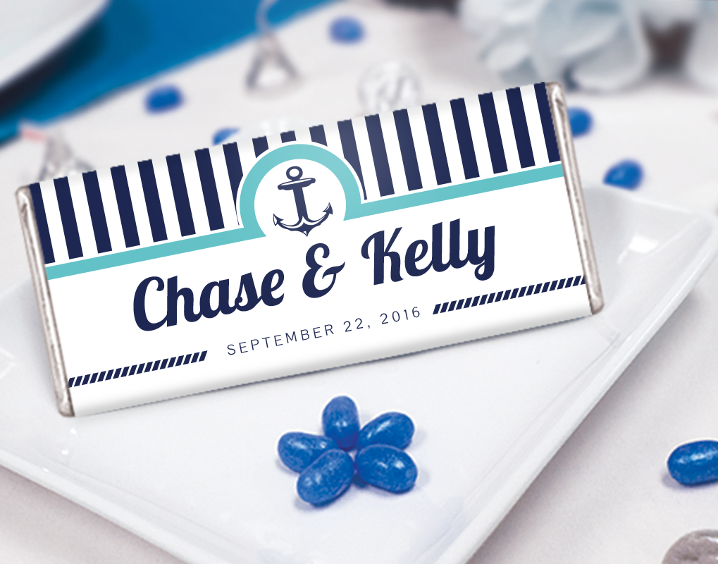 Anchors Away Wedding Theme Ideas: Personalized candy bars for ...
