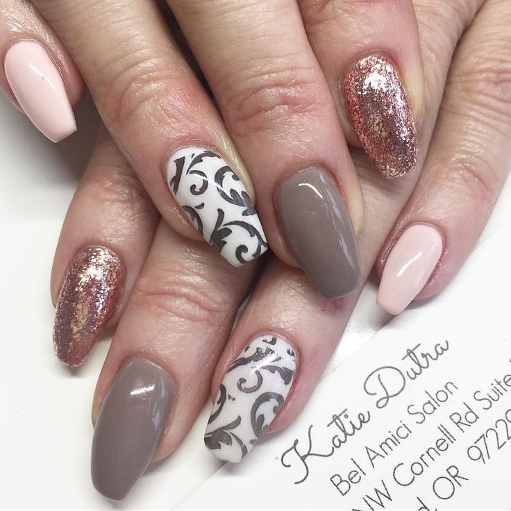 Baby Pink And Rose Gold Vintage Color Classic Nail Art Nails By