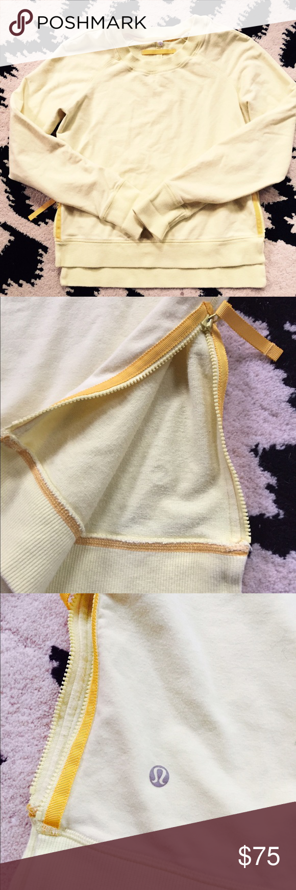 Rare Lululemon pullover sweatshirt In perfect condition.  It's yellow in color.  Zippers on both left and right side of the sweater lululemon athletica Sweaters