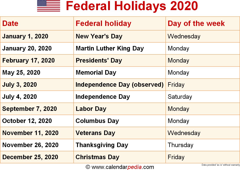 Federal Holidays 2020 In 2020 Federal Holiday Calendar National Holiday Calendar Us Holiday Calendar