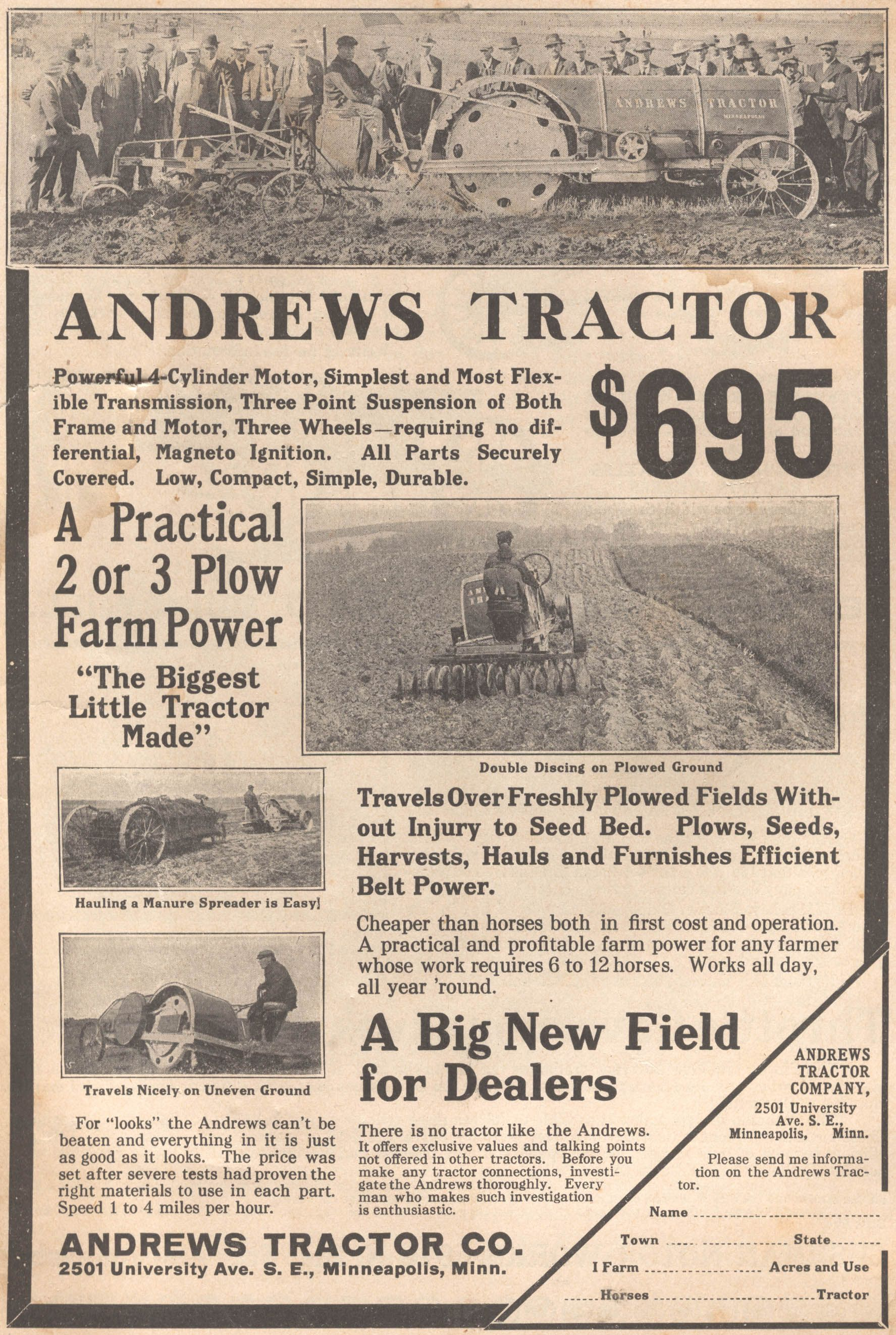 Andrews Tractor 1915 | Tractor & Farm Equipment Advertising