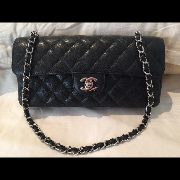 ab95f993e8d   SOLD  Chanel Classic Caviar East West Flap Gently used condition with an