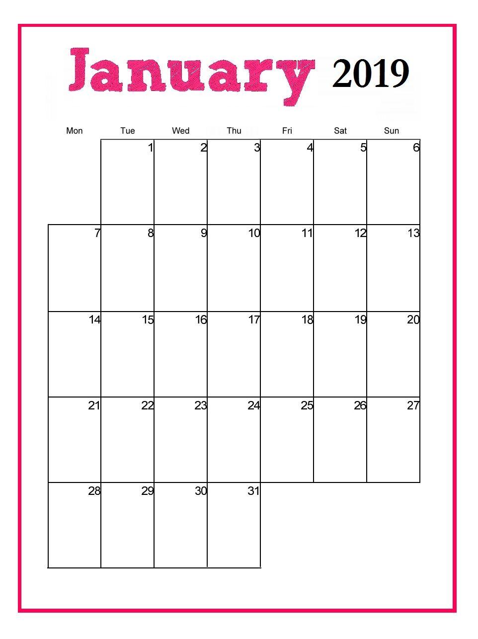 January 2019 Calendar Vertical Printable January 2019 Vertical Calendar   MaxCalendars   Monthly